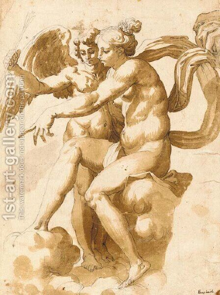 Venus showing the people to Cupid, after Raphael by Italian School - Reproduction Oil Painting