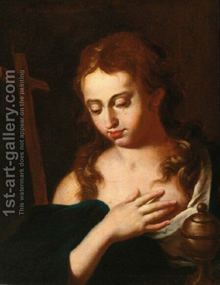 The Penitent Magdalene by Italian School - Reproduction Oil Painting