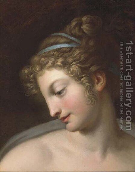 Head of a girl by Italian School - Reproduction Oil Painting