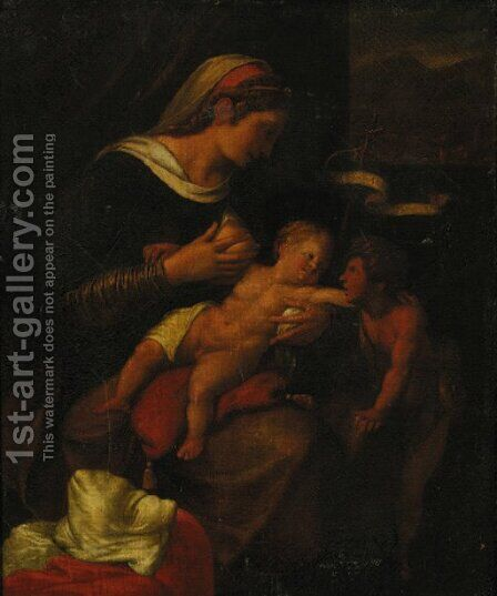The Madonna and Child with the Infant Saint John the Baptist by Italian School - Reproduction Oil Painting