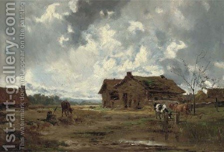 A farmstead, Liviarno by Italian School - Reproduction Oil Painting