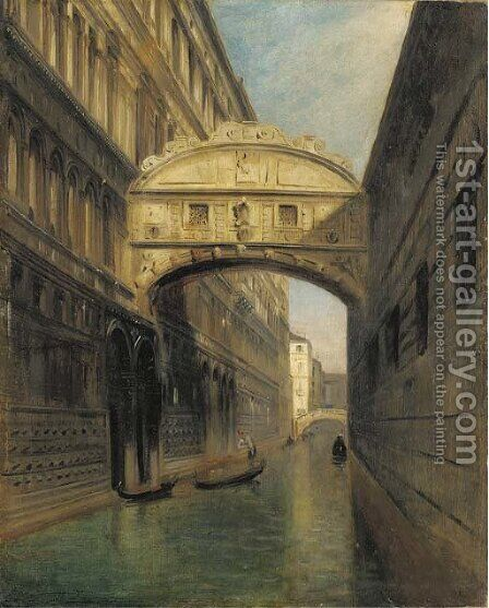 A view of the Bridge of Sighs and the Rio del Palazzo, seen from the Ponte della Paglia, Venice by Italian School - Reproduction Oil Painting