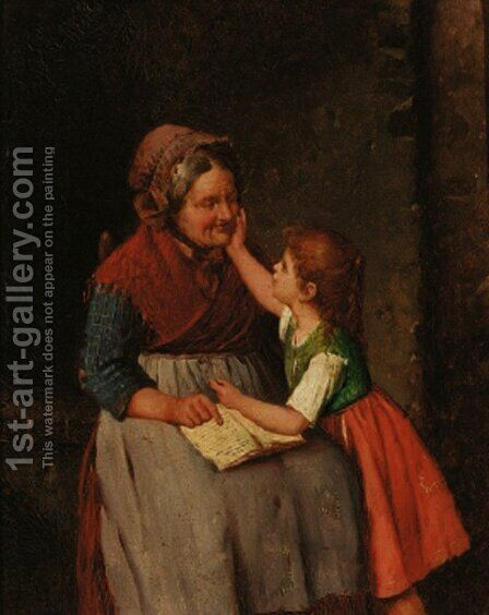 Grandma's Favourite by Italian School - Reproduction Oil Painting