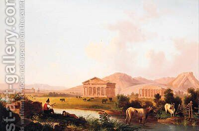 The Temples Of Paestum by Italian School - Reproduction Oil Painting