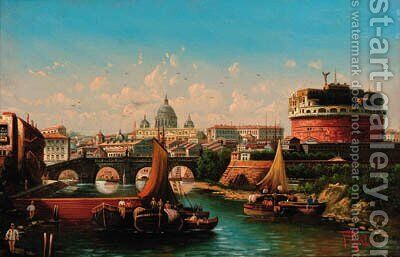 The Tiber with St. Peter's and the Castello San Angelo beyond by Italian School - Reproduction Oil Painting