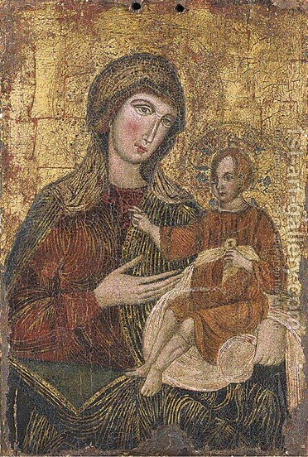 The Virgin and Child by Italio-Cretan School - Reproduction Oil Painting