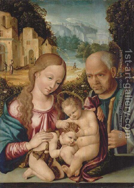 The Holy Family with the Infant Saint John the Baptist by Italo-Spanish School - Reproduction Oil Painting