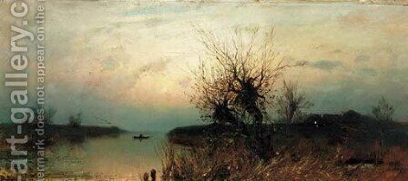 Lone Fisherman at Dusk by Iulii Iul'evich (Julius) Klever - Reproduction Oil Painting