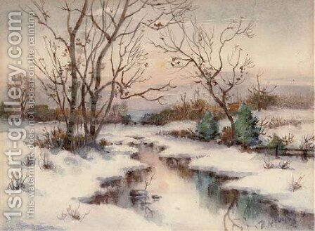 A stream in a winter landscape by Iulii Iul'evich (Julius) Klever - Reproduction Oil Painting