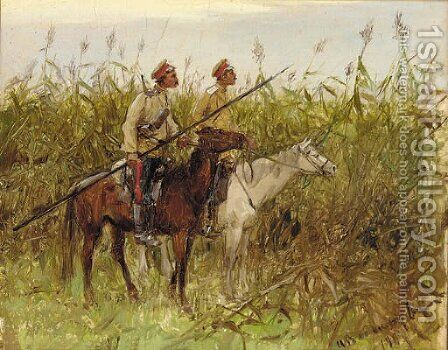 Russian vedettes in a field in Tao-ling, Manchuria during the Russo-Japanese War , 1901 by Ivan Alexeievitch Wladimiroff - Reproduction Oil Painting