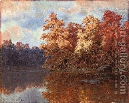 Autumn on the lake by Ivan Fedorovich Choultse - Reproduction Oil Painting