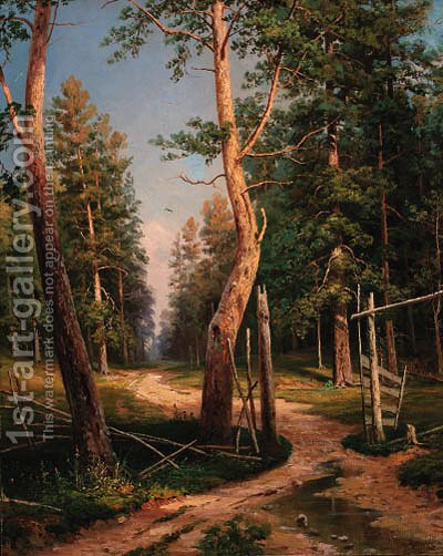 A path in a wood by Ivan Shishkin - Reproduction Oil Painting