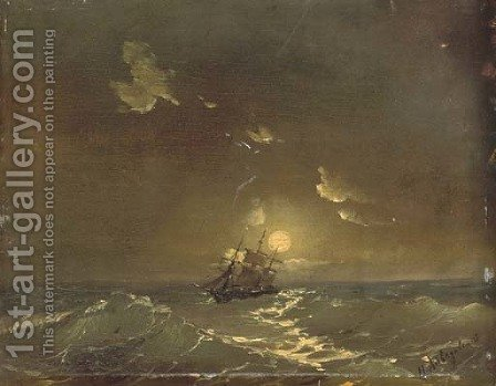 A ship in moonlit waters by Ivan Konstantinovich Aivazovsky - Reproduction Oil Painting