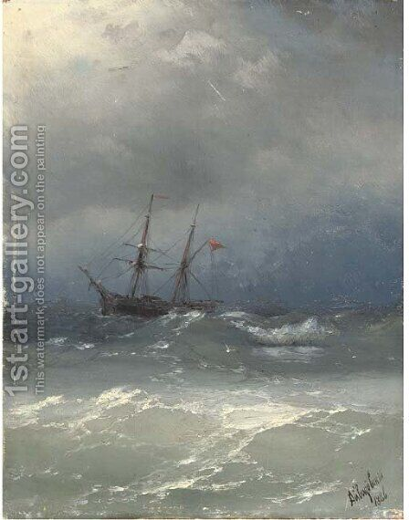 A ship in stormy seas by Ivan Konstantinovich Aivazovsky - Reproduction Oil Painting