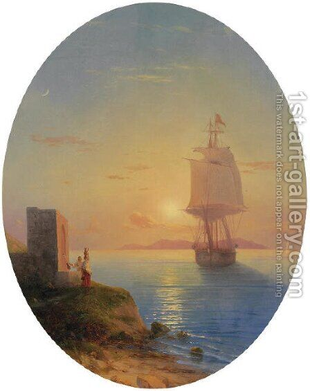 Coastal sunset by Ivan Konstantinovich Aivazovsky - Reproduction Oil Painting
