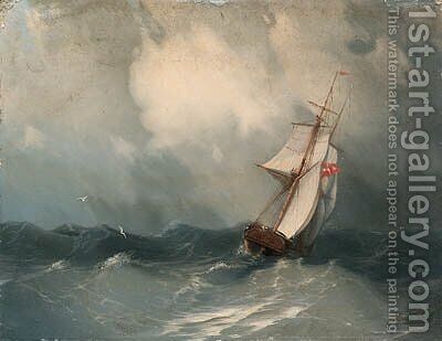 Cutter in choppy Seas by Ivan Konstantinovich Aivazovsky - Reproduction Oil Painting