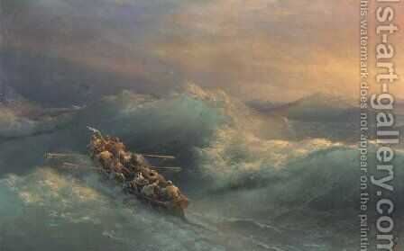 Lifeboat in heavy seas by Ivan Konstantinovich Aivazovsky - Reproduction Oil Painting
