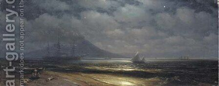 Moonlit view of the Bay of Naples by Ivan Konstantinovich Aivazovsky - Reproduction Oil Painting