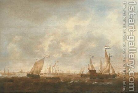 The Zeeland Fleet on the Merwede, Dordrecht in the distance by Jacob Adriaensz. Bellevois - Reproduction Oil Painting