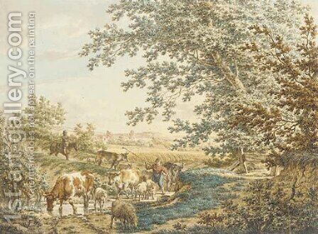 Cattle at a pond in a landscape by Jacob Cats - Reproduction Oil Painting
