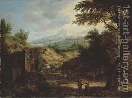 An Italianate extensive river landscape with travellers on a path by a fortified tower by Jacob Christoph Weyermann - Reproduction Oil Painting