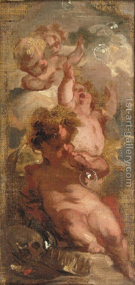 An Allegory of Vanitas Four putti blowing bubbles, a skull by Jacob de Wit - Reproduction Oil Painting