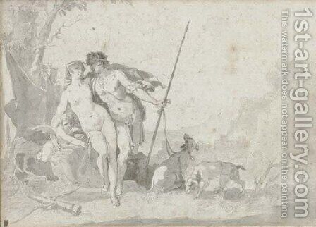 Venus and Adonis with Cupid in an extensive landscape by Jacob de Wit - Reproduction Oil Painting