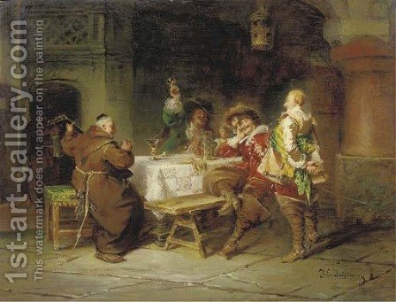 Zecherrunde im Klosterkeller by Jacob Emmanuel Gaisser - Reproduction Oil Painting