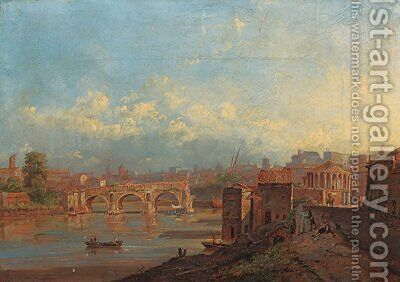 View of Rome with the Ponte Rotto and the Temple of Vesta by Jacob George Strutt - Reproduction Oil Painting