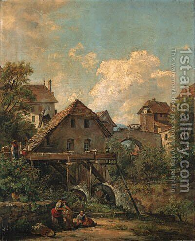 Continental Views Women by a watermill by Jacob George Strutt - Reproduction Oil Painting