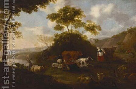 Milkmaids with cattle in a landscape by Jacob Gerritsz. Von Bemmel - Reproduction Oil Painting