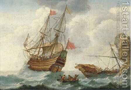 A warship in distress off the coast by Jacob Gerritz Loef - Reproduction Oil Painting