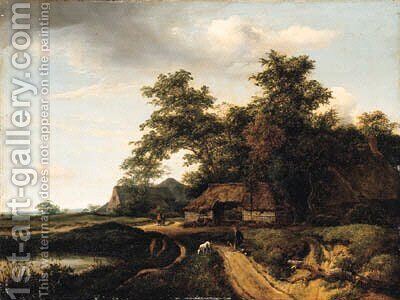 A wooded landscape with a traveler resting on a path by Jacob Van Ruisdael - Reproduction Oil Painting