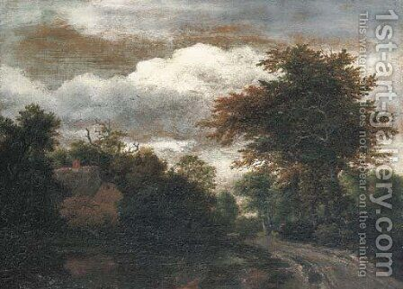 A wooded landscape with a traveller on a path by a pond by Jacob Van Ruisdael - Reproduction Oil Painting