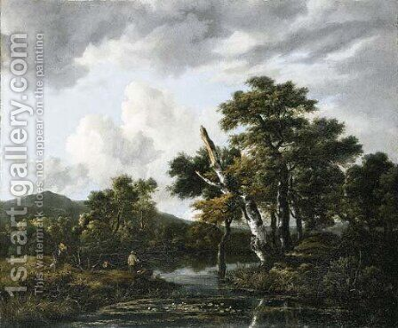 A wooded river landscape with figures on a bank by Jacob Van Ruisdael - Reproduction Oil Painting