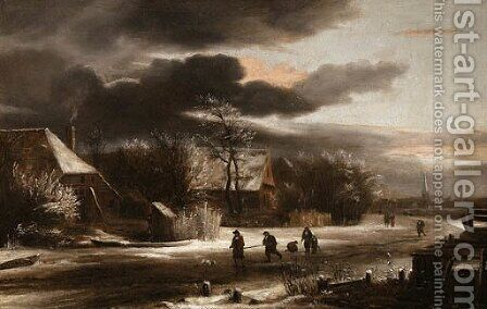 A winter Landscape with Villagers on a Path by Jacob Van Ruisdael - Reproduction Oil Painting