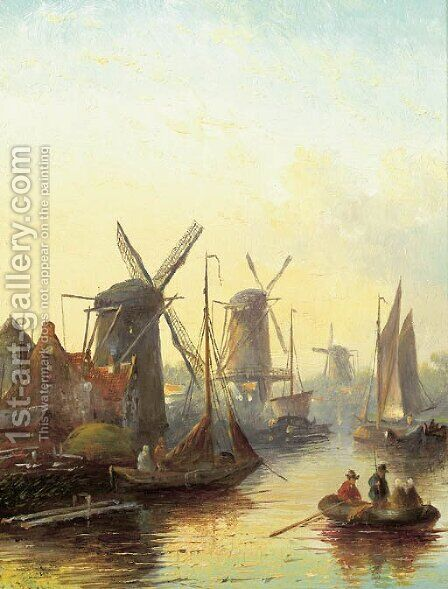 A summer landscape with windmills along a river by Jan Jacob Coenraad Spohler - Reproduction Oil Painting