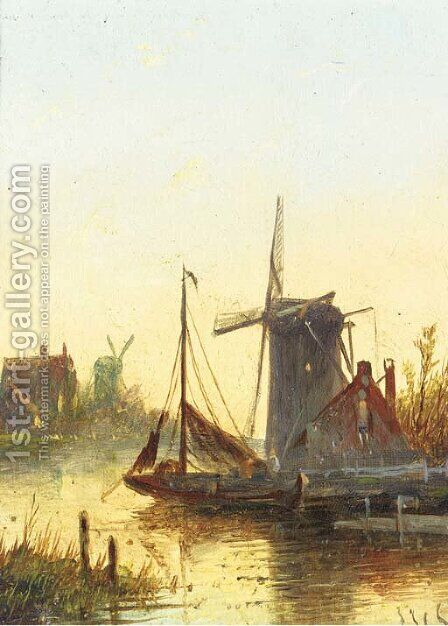 Early morning and sunset over Zaandam by Jan Jacob Coenraad Spohler - Reproduction Oil Painting
