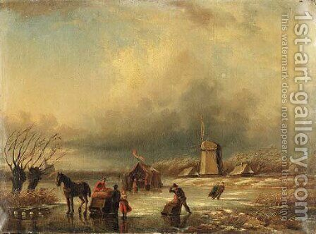 Figures in a frozen landscape by Jan Jacob Coenraad Spohler - Reproduction Oil Painting