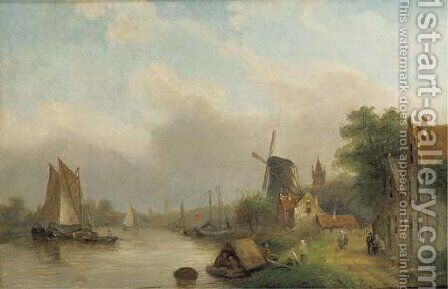 Shipping on a river by a village by Jan Jacob Coenraad Spohler - Reproduction Oil Painting