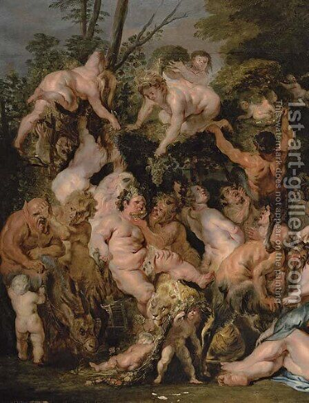 The Revel of Bacchus and Silenus by Jacob Jordaens - Reproduction Oil Painting