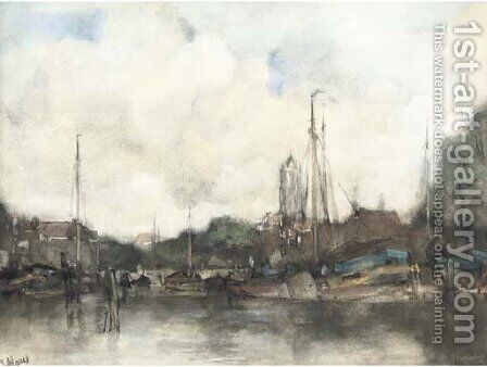 A view of a Dutch harbour town by Jacob Henricus Maris - Reproduction Oil Painting
