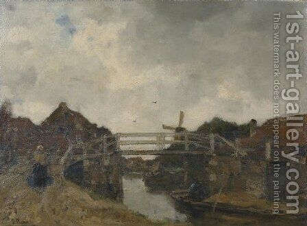 De Brug (bij Rijswijk) the bridge by Jacob Henricus Maris - Reproduction Oil Painting
