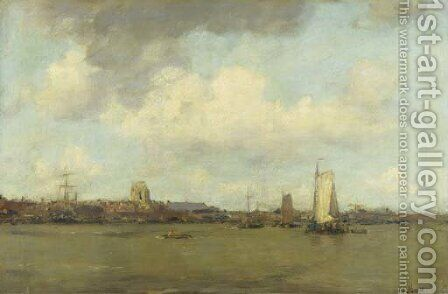 Shipping on the Merwede by Dordrecht by Jacob Henricus Maris - Reproduction Oil Painting