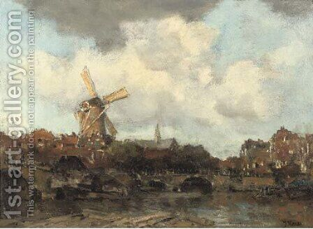 View of a Dutch city by Jacob Henricus Maris - Reproduction Oil Painting