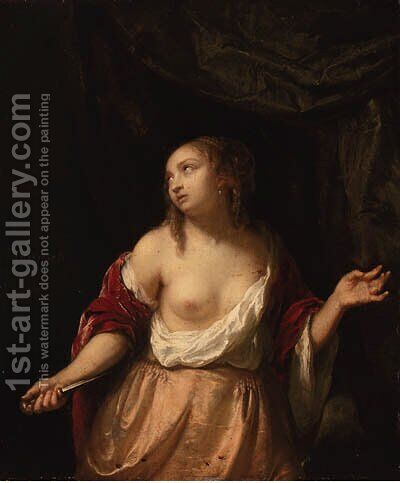 Lucretia by Jacob Ochtervelt - Reproduction Oil Painting