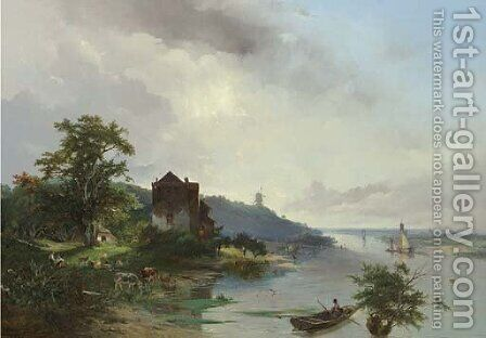 Panoramic view of a river landscape by Jacobus Pelgrom - Reproduction Oil Painting