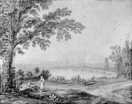 A view of the lake at Persano by Jacob Philipp Hackert - Reproduction Oil Painting