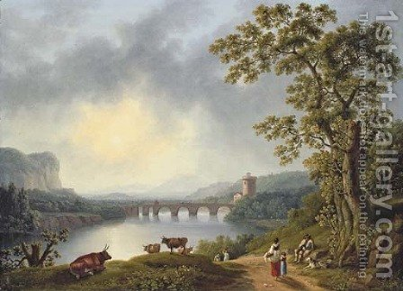 The Volturno with the Ponte Margherita, near Pisa by Jacob Philipp Hackert - Reproduction Oil Painting