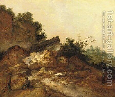 A rocky landscape with two peasants conversing near classical ruins by Jacobus Sibrandi Mancadan - Reproduction Oil Painting